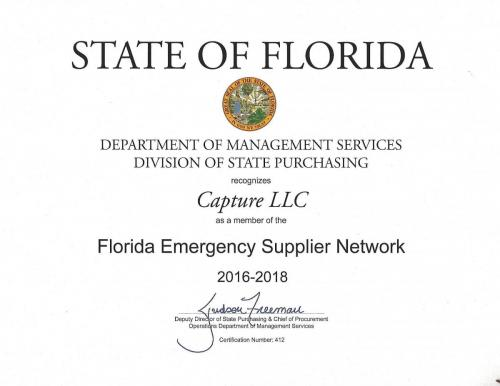 Florida Emergency Supplier Certificate